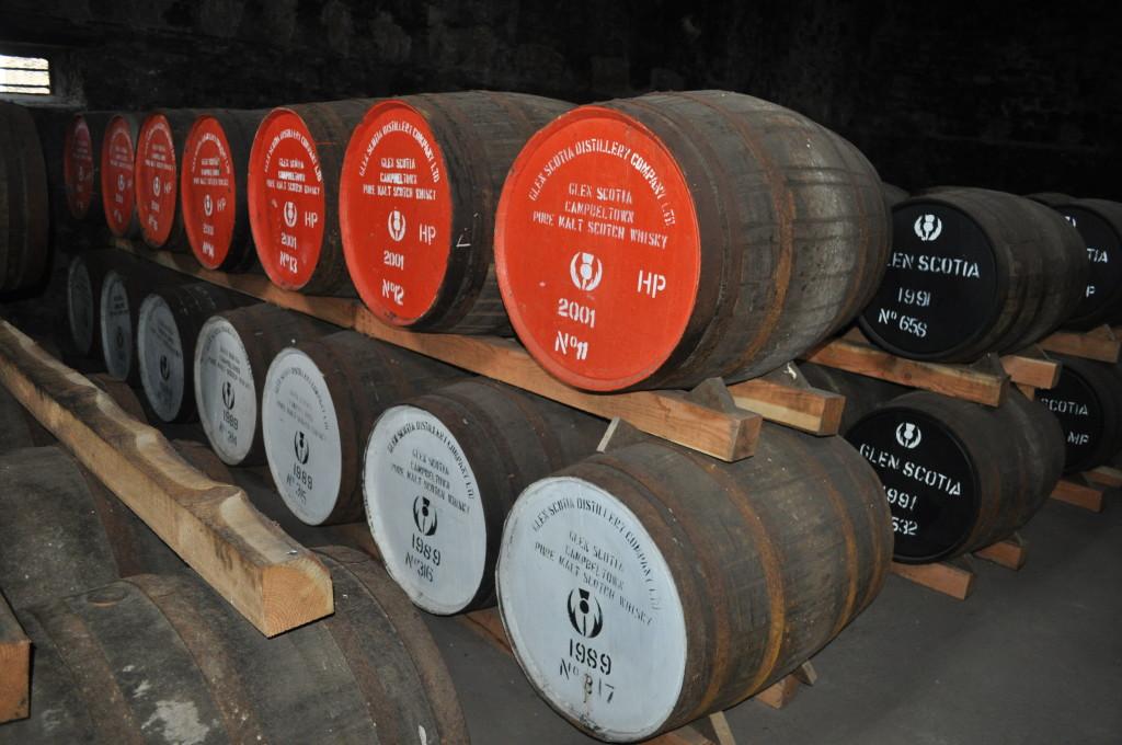 Barrels at Glen Scotia distillery