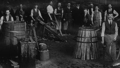 Watts distillery coopers at cooperage