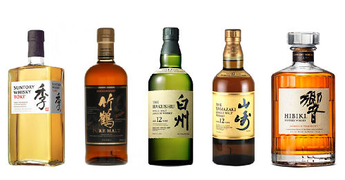 Japanes whisky bottles suntory whisky toki pure malt yamazaki 12 year olf hakushu 12 year