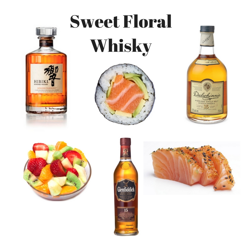 Floral whiskies sushi fruit salad