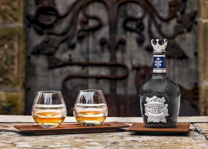 Chivas Royal Salute Union of Crown with glasses of whisky